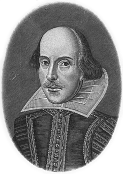 A portrait bust of William Shakespeare.