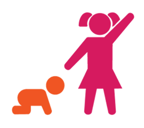 Stick figures of a baby crawling next to a standing toddler