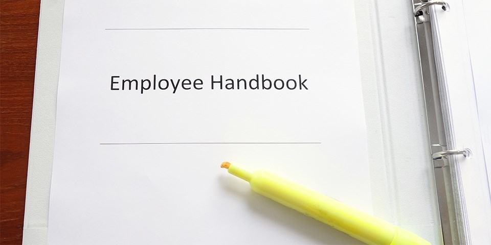 Photo of employee handbook