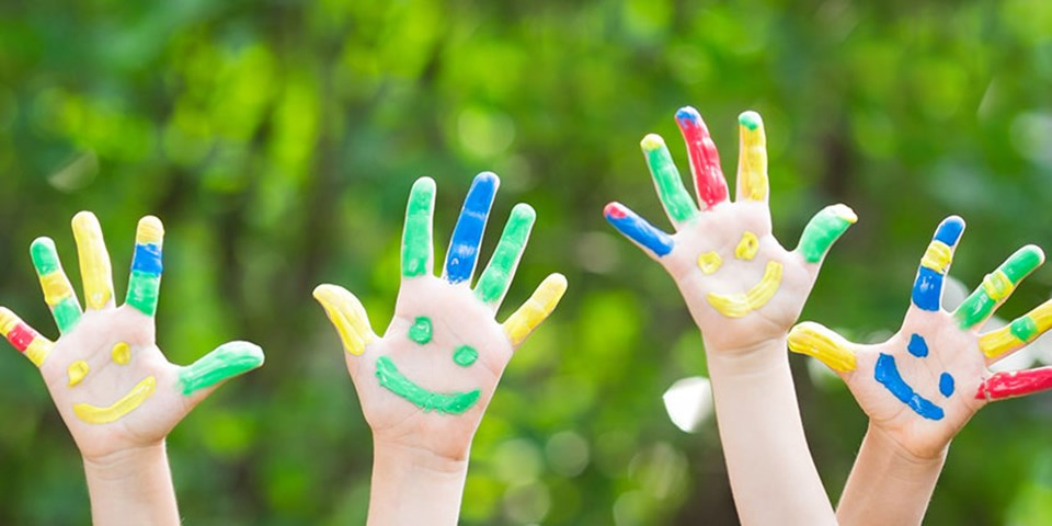 Children's hands with smiles painted on them
