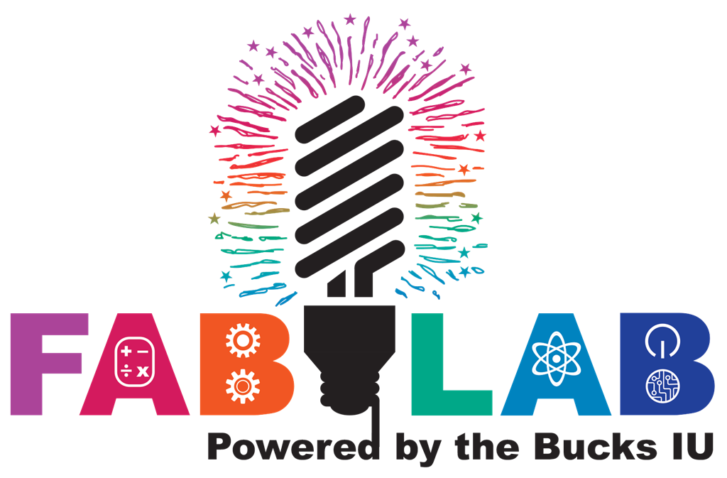 An energy efficient light bulb surrounded by the words FAB LAB Powered by the Bucks IU