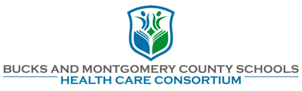 An emblem with the full title of Bucks and Montgomery County Schools Health Care Consortium