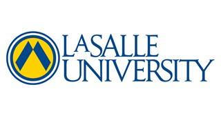 La Salle University logo of university name and stylized inverted V shape in a circle