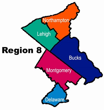 Map showing 5 PA counties in region 8.