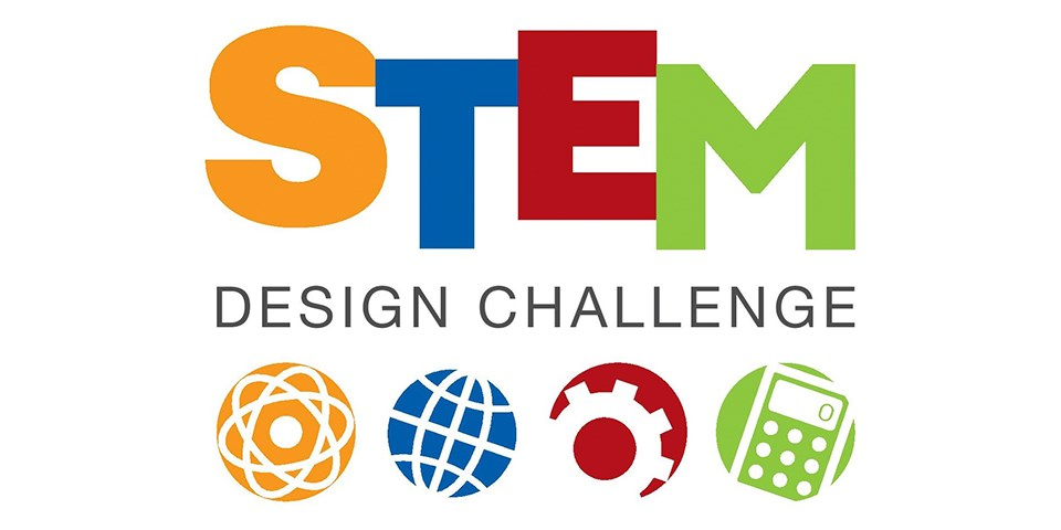 STEM Design Challenge written out with icons representing Science, Technology, Engineering, and Math.