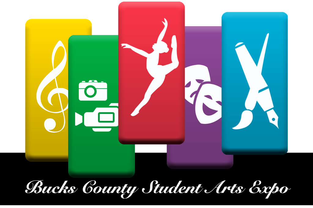 COlored blocks with icons of various art forms above a banner showing the name of the Bucks County Student Arts Expo.