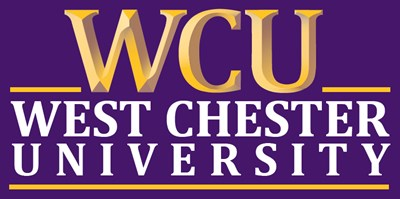 Gold and purple image of WCU letters and then the words West Chester University.